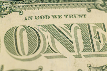 Element of an old American dollar bill close up. Macro photo