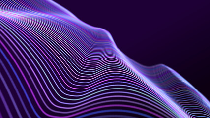 Fotobehang - Abstract wave of sound particles. Equalizer for music. Signal transmission. 3d rendering.