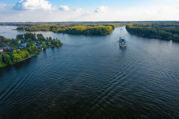 MOSCOW AREA / RUSSIA - AUGUST 31, 2019: Aerial view of the Russian four deck passenger cruise liner Konstantin Simonov floating on Moscow Canal
