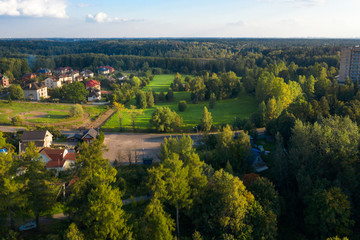 Top view of the village in the forest