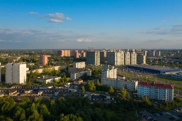 LOBNYA, MOSCOW REGION - AUGUST 31, 2019: Aerial view of the residential buildings of the city of Lobnya. Late bright summer evening