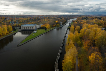 Aerial View Of The Gateway On The Moscow Canal On A Rainy Autumn Evening