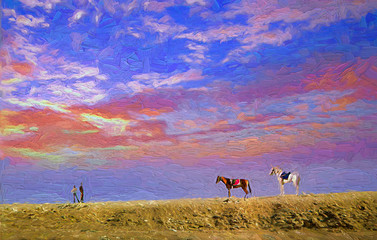 Beautiful atmosphere of the evening sky with a pair of horses and horses owner waiting for tourists in Sahara Desert, Eygpt.- oil painting.
