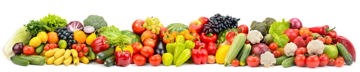 Wall Mural - Wide photo multi-colored fresh fruits and vegetables isolated on white