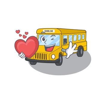 Romantic school bus cartoon picture holding a heart