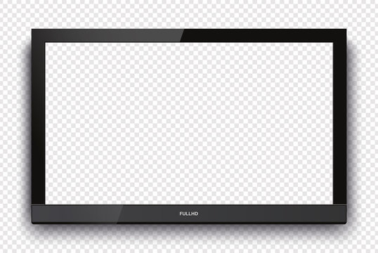 Mockup Realistic television screen with blank screen for your design. Vector illustration Ai 10