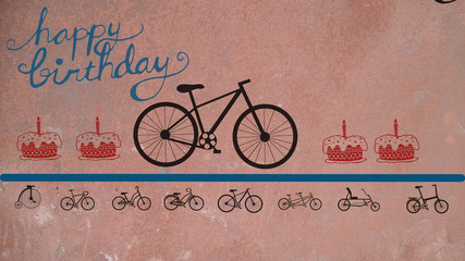 Aluminium Prints Bicycle vintage poster with bicycle happy Birthday