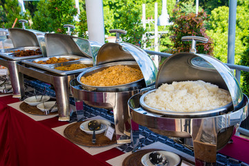 Breakfast buffet rice and fried rice