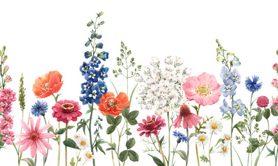 Beautiful floral summer seamless pattern with watercolor hand drawn field wild flowers. Stock illustration. Fototapete