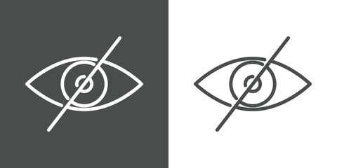Símbolo oculto. Icono plano lineal ojo con barra en fondo gris y fondo blanco Fotomurales