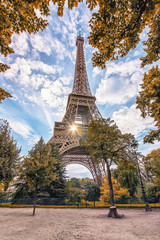 Wall Mural - Eiffel tower in Paris viewed from the Champ-de-Mars park