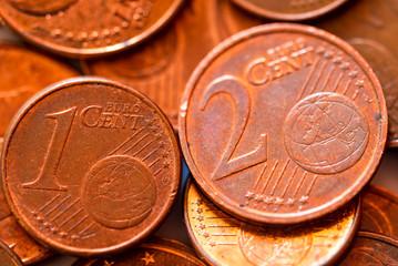 Euro Cent Münzen Makro Kupfer