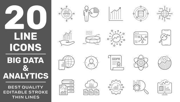 Data analysis, big data, statistics, analytics - minimal thin line web icon set. Editable Stroke. EPS 10