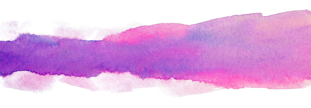 Watercolor magenta with blue band abstract stripe with texture. element on page background on a white background isolated.