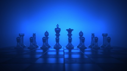 A chessboard on the wooden table. 3d illustration.