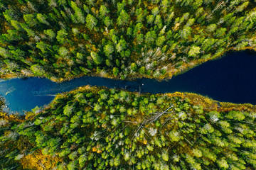 Aerial view of fast river through green pine forest in Finland Fototapete