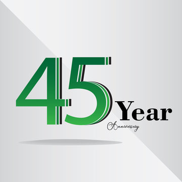45 Years Anniversary Celebration Vector Template Design Illustration