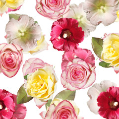 Fototapete - Beautiful floral background of malvas and roses. Isolated