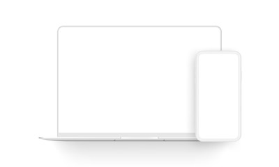 Laptop computer and mobile phone clay mockups isolated on white background. Vector illustration