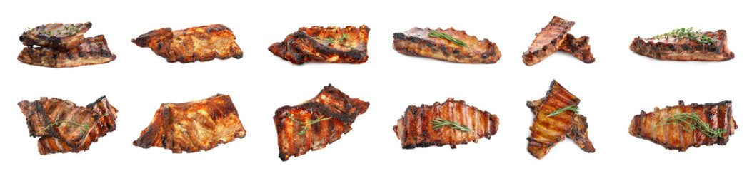 Set of delicious roasted ribs on white background. Banner design Wall mural