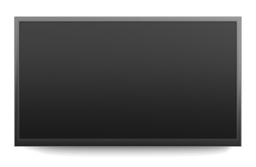 Black screen TV isolated on white