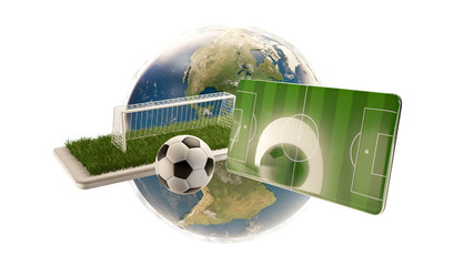 mobile phone soccer field ball and goal 3d-illustration. elements of this image furnished by NASA