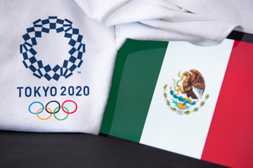 TOKYO, JAPAN, FEBRUARY. 8. 2020: Mexico at summer olympic game in Tokyo 2020, national flag, black background