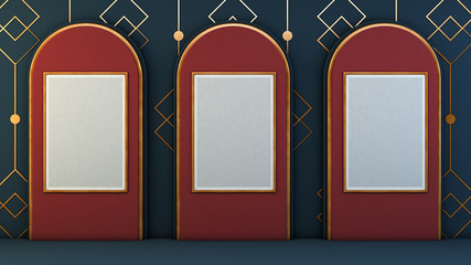 three poster mockup on art deco gallery