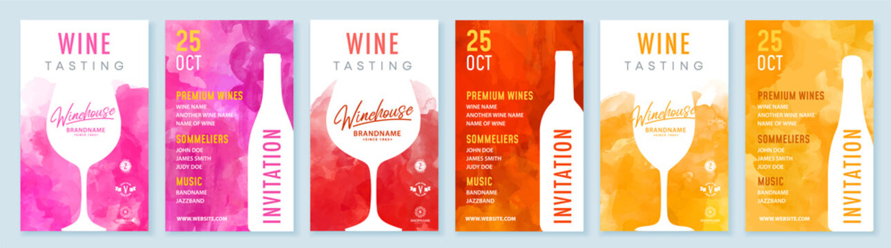 Wine tasting invitation card vector design template with watercolor background