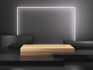 Wooden pedestal with light frame on black background, Blank Pedestal minimal concept template - 3d rendering mockup
