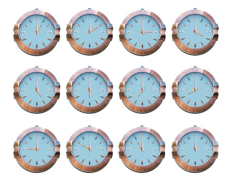 1-12 classic slyle street clock isolated on white background. Collection of classic street clock fron 1 to 12.