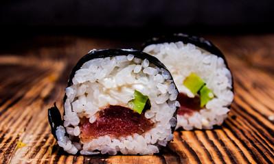 Foto op Aluminium Sushi bar Japanese sushi on a wooden background