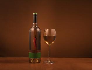 Fototapeta bootle of wine with glass obraz
