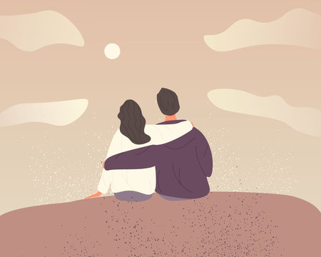 Young couple in love on sky background with clouds.