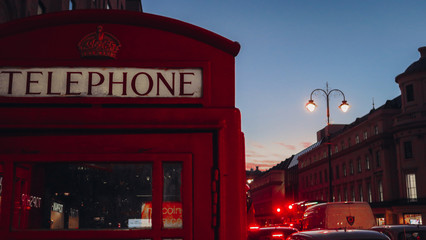 London telephone box at sunset