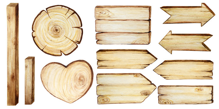 Watercolor Wooden signboards, empty Blank isolated. Signs Set of vintage old, retro Hand painted wood banners, planks, board, Heart, circle, arrow for pathfinding. Illustration with space for text