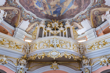 Pipe organ in Roman Catholic Church of Mother of God, Queen of Families in Lubasz, small town located in West Pomerania region of Poland