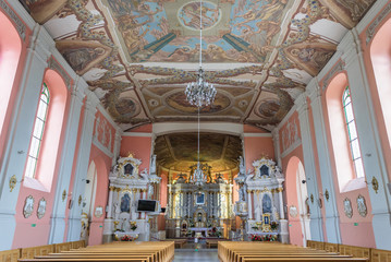 Interior of Roman Catholic Church of Mother of God, Queen of Families in Lubasz, small town located in West Pomerania region of Poland