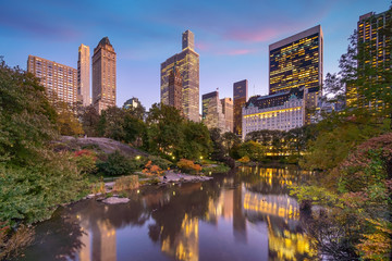 Fototapete - Beautiful foliage colors of New York Central Park at sunset