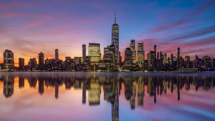 Wall Mural - New York City downtown skyline at sunset - beautiful cityscape