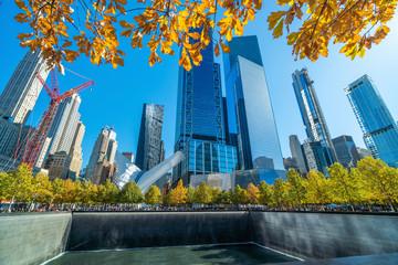 9/11 Memorial at World Trade Center Ground Zero in downtown Manhattan,
