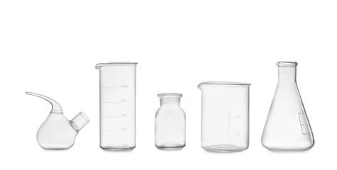 Fototapete - Clean empty laboratory glassware isolated on white