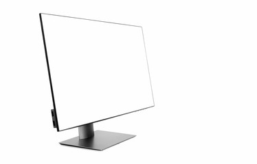 Modern computer display, Flat computer blank screen monitor with clipping path isolated on white background, copy space on the right