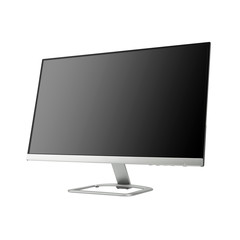 Computer Monitor Isolated on White. Side View of Slim Design Display Full HD 27 Inches Diagonally LED Tele. Brand New Black Modern Widescreen and Flat LCD Screen with Blank Anti-Glare Display