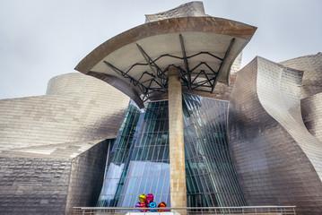 Bilbao, Spain - January 27, 2019: Exterior view of famous Guggenheim Museum in Bilbao city