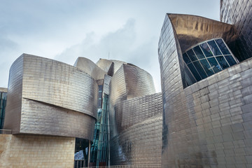 Bilbao, Spain - January 27, 2019: Facade of Guggenheim Museum in Bilbao, the largest city in Basque Country