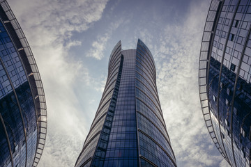 Warsaw, Poland - August 5, 2019: Warsaw Spire office building in downtown of Warsaw city