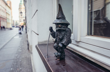 Wroclaw, Poland - December 1, 2019: Characteristic dwarf statuette in historic part of Wroclaw city