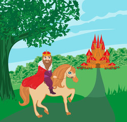 Garden Poster Pony the king is riding a horse
