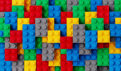Multi-colored plastic blocks background